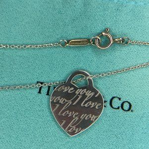 """ I Love You"" Small Heart Tag Necklace 16"""